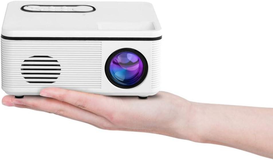 Wanrujlin Powerplug:US Plug(White), Support 1080P, 80 lumens 480x320 Pixel Portable Miniskirt Projector (Color : White)