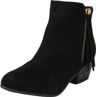 Cambridge Select Women's Western Side Zip Tassel Low Chunky Heel Ankle Bootie