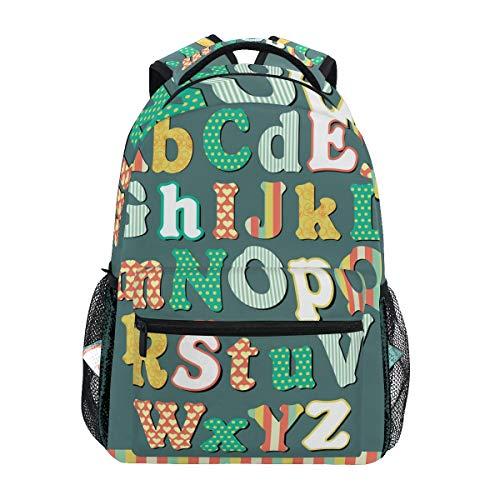 QMIN - Zaino colorato con lettera dell'alfabeto, per scuola, viaggi, college, portatile, escursionismo, campeggio, borsa a tracolla per ragazzi, ragazze, donne e uomini
