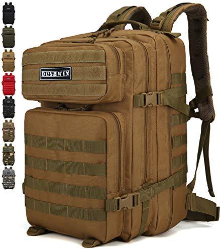 Doshwin 40L Taktischer Militär Rucksack Großer Armee Molle Assault Pack für Wandern Reisen Trekking Camping (Khaki)