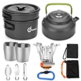 Odoland 12pcs Camping Cookware Mess Kit with Mini Stove, Lightweight Pot Pan Kettle with 2 Cups, Fork Spoon Kit for Backpacking, Outdoor Camping Hiking and Picnic