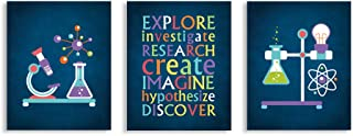 """CHDITB Classroom Science Art Print, Creative Experiment Research Art Painting, Set of 3 Art Posters(8"""" x10"""" )Inspirational..."""