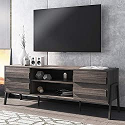 """【Mid-Century Modern entertaiment center】The Television Stand is designed with dimensions of 59.1"""" L x 15.6"""" W x 20.9"""" H. Suitable For TVs up to 65 inch. Made from high grade certified MDF that promises a long service life. The overall finish is quite..."""