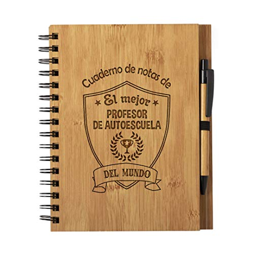 Cuaderno de Notas El Mejor profesor de autoescuela del Mundo - Libreta de Madera Natural Tamaño A5 con Boligrafo - Regalo para Profesores