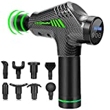 Muscle Massage Gun, Quiet Deep Tissue Percussion Back Neck Head Hammer Massager for Athletes, Pain Relief, 30 Speed Level, LED Touch Screen with 8 Heads and Solid Carrying Case