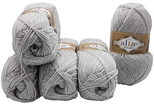 Alpaka Royal 5 x 100 Gramm Alize Strickwolle, 500 Gramm Wolle einfarbig (grau 684)