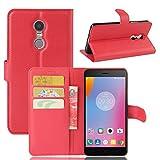 Qiaogle Teléfono Case - Funda de PU Cuero Billetera Clamshell Carcasa Cover para Lenovo K6 Note (5.5 Pulgadas) - FC04 / Rojo Estilo