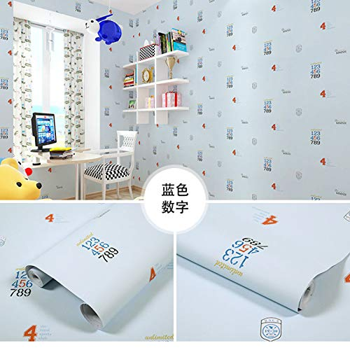 LZYMLG Pvc Self-Adhesive Wallpaper Bedroom Living Room Children'S Room Cabinet Decoration Sticker Waterproof Dormitory Background Wall Sticker Blue numbers 60CMX5M