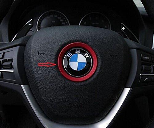 Emblema de aluminio adhesivo para volante rojo de 45 mm, para decoración de BMW Serie 1, 2, 3, 4, 5, 6, 7, 8, X1, X2, X3, X4, X5, X6, Z3, Z4 y GT.