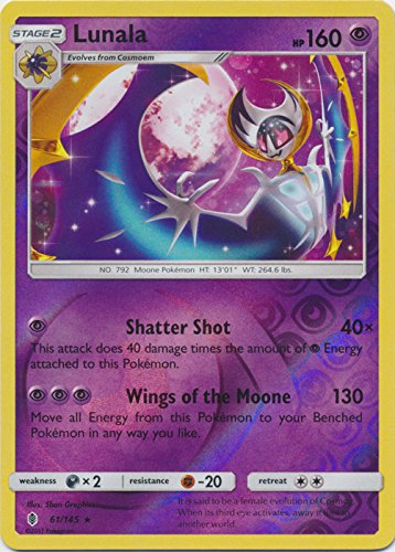 Lunala - 61/145 - Rare - Reverse Holo - Sun & Moon: Guardians Rising