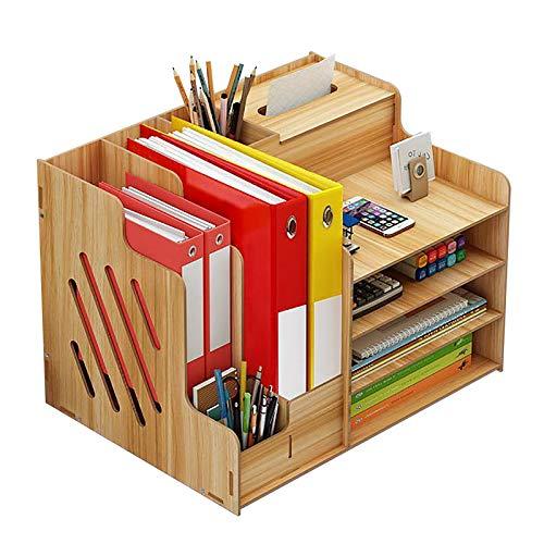 Organizador de escritorio de madera, gran capacidad, con soporte para teléfono móvil, organizador de mesa para revistas, documentos, periódicos, color natural