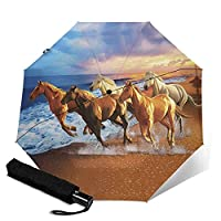 Horses On The Beach 自動折りたたみ傘 男性、女性、子供用の折りたたみ傘 大きい 軽量 太陽の傘 旅行傘 晴雨兼用傘 ?固?架 ワンタッチ 自動開閉 遮光遮熱 紫外線遮断 日焼け止め対策 耐風超撥水 超軽量 おしゃれ 男性、女性、子供が日よけと防雨で旅行するのに適しています。