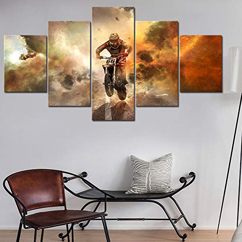 SLFWCLH 5 Pictures Wall Art Canvas Painting 5 Piece Motorbike On The Runway Picture Print Home Decoration Poster Living Room Modular No Frame Modern Fashion Poster Modular Mural