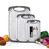 Masthome 3 Stück Schneidebrett Set Kunststoff BPA-frei Rutschfest und Antibakteriell