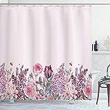 N / A Mauve Duschvorhang Vintage Aquarell Bouquet von bunten Frühlingsgarten Blumen romantischen Stoff Stoff Badezimmer-B200xH220cm