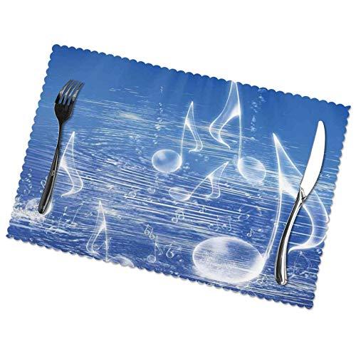 LAOLUCKY Manteles individuales para mesa de comedor, bailar, notas musicales, burbujas, tela de PVC, tipo espesor, para mesa de comedor, juego de 6 manteles individuales de 45 x 30 cm