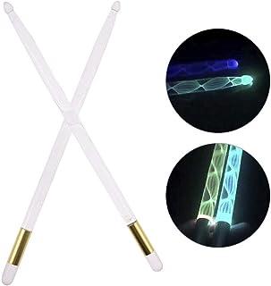 Wood.L Baquetas De Música Tambor De Acrílico Brillante Iluminación con LED Palillos Iluminados En El Escenario Oscuro Baquetas De Jazz