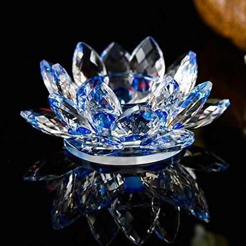 Bougeoir Xshuai - Fleur de lotus en cristal - 7 couleurs au choix - 80 mm - Bougeoir bouddhiste - Accessoire de décoration, décoration de table pour Noël, maison, mariage, fête - Décoration Feng Shui, bleu, Diameter: 80mm
