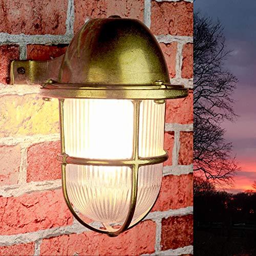 Außenleuchte Wandlampe rustikal Gitter Schirm geriffeltes Glas Echt-Messing rostfrei IP64 E27 Premium Haus Balkon