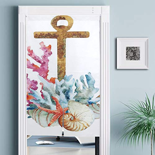 JISMUCI Vorhänge für Türen,Aquarellart Seestern Muschel und Koralle Bunte nautische Anordnung Sommer,Türvorhang Für die Küche Wohnzimmer Schlafzimmer