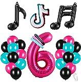 6 Años Decoración de Cumpleaños Fiesta de Música Gigante Número 6 (100 CM) Decoración de Fiesta Musical de Tik Tok Globos de Látex Lámina Azul Tiffany para Adultos Niños Niñas
