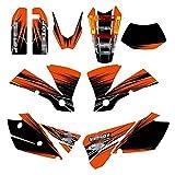Tatumyin Naranja Negro Motocross Equipo Gráfico Fondo Pegatinas Decal Sticker Kit para KTM EXC 125 200 250 300 400 450 525 2004 hnszf