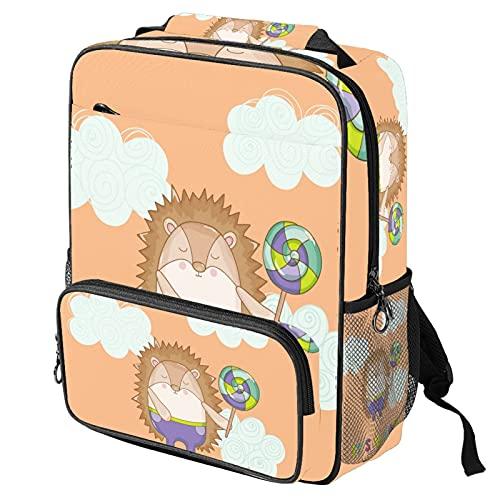 Lässiger Tagesrucksack, Laptop-Rucksack, modische Arbeitstasche mit lustigem Igel jpg Druck für Damen/Mädchen/Herren