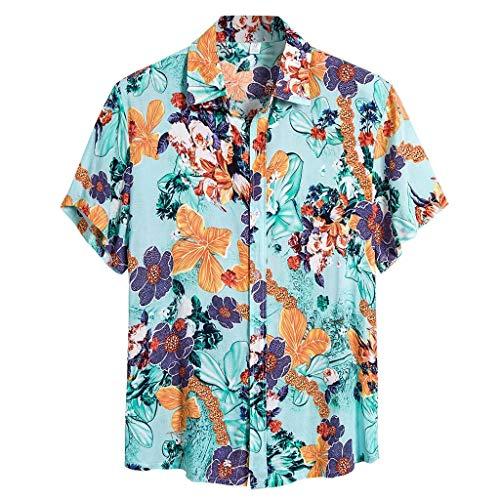 Rusaly Herren Sommer Strand Blumen Hawaiihemd Große Größe Button Down Slim Fit Dünne Weiche Stretch Kurzarm Tropisch Aloha Übergroße Blusen Y, L Blau (holzfällerhemden, schwarzes Hemd Herren 4XL)