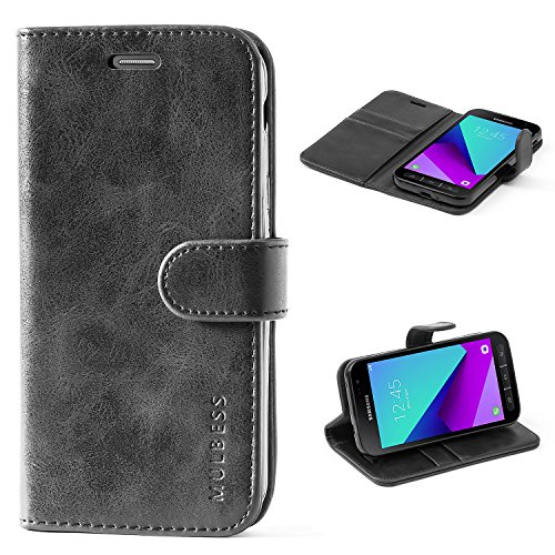 Mulbess Handyhülle für Samsung Galaxy XCover 4 Hülle, Leder Flip Hülle Schutzhülle für Samsung Galaxy XCover 4 / 4s Tasche, Schwarz