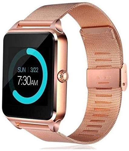 Reloj inteligente Bluetooth desbloqueado con cámara podómetro detector de movimiento recordatorio monitor de sueño remoto oro