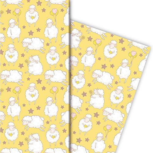 4 vellen grappige schaapjes cadeaupapier met sterren voor een leuke geschenkverpakking 32 x 48 cm, 4 vellen voor het inpakken van verjaardagen, huwelijk, decoratief papier geel