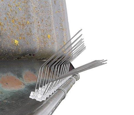 Dachrinnenschutz Taubenabwehr 2 reihig auf 50 cm Polycarbonatleiste, Taubenabwehr, Vogelschutz, Bird Control