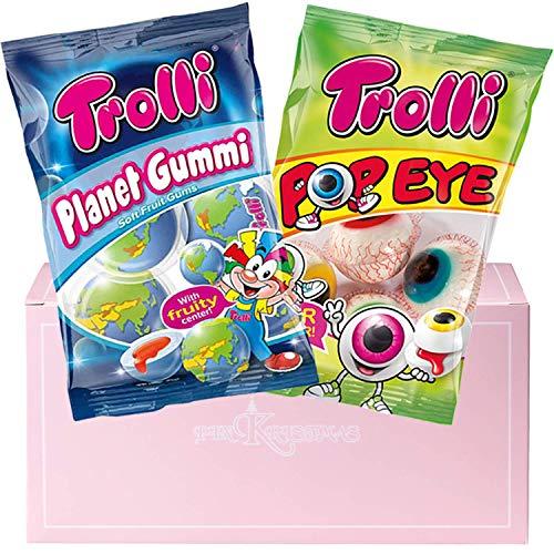 Trolli Planet Gummies and Trolli Pop Eye Glotzer Combination 1 Pack Each in a PINKRISTMAS Gift Box - Sour Filled Fruit Gum