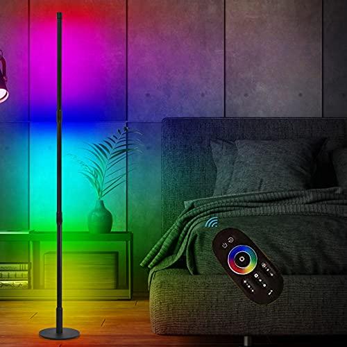 Led Stehlampe,Stehlampe Dimmbar,20W RGB Standleuchte mit Fernbedienung Stehlampe Modern Wohnzimmer Schwarz Stimmungslicht Stehleuchte Farbwechsel Lichtsaeule Nachtlicht Ecklampe für Schlafzimmer
