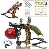 Blue-Ra Outdoor Y Shot Slingshot Fishing Hunting Professional Sling Shot High Velocity Catapult Kit with Infrared Sight&Fishing Reel Slingshots for Adult Kids(Gold)