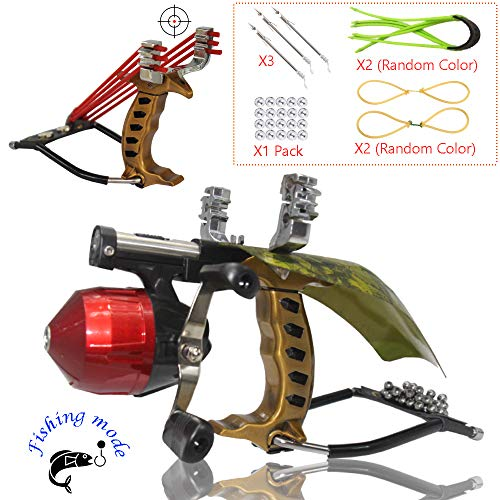Blue-Ra Outdoor Y Shot Slingshot Fishing Hunting Professional Sling Shot High Velocity Catapult Kit with Infrared Sight&Fishing Reel Wrist Rocket Slingshots for Adult Kids(Gold)