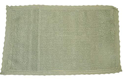R.P. Tappeto Bagno scendiletto Sophie con Pizzo Shabby Chic provenzale cm 60x120 Vari Colori - Verde Oliva