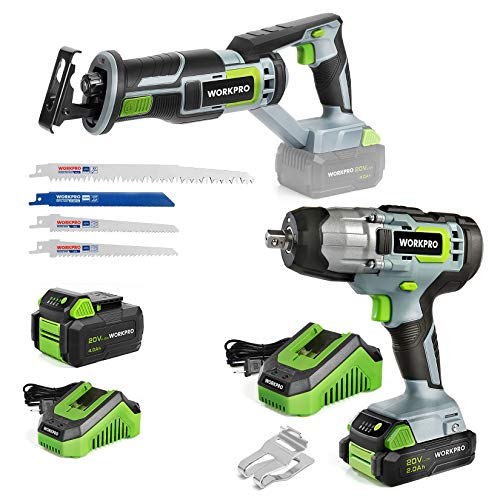 WORKPRO Cordless Reciprocating Saw, 20V 4.0Ah Battery with 20V Cordless Impact Wrench, 1/2-inch, 320 Ft Pounds Max Torque