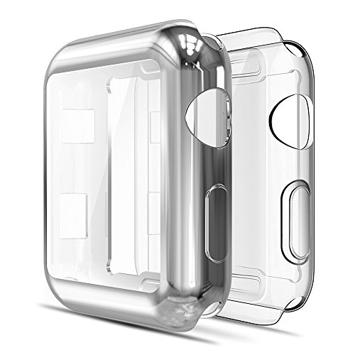 Simpeak Funda Compatible con Apple Watch 42mm Series 3/2(1 * Transparent + 1 * Gris Plata), 2 Packs Ligero y Suave de Silicona Ultra Fino TPU Funda [Cobertura Completa]