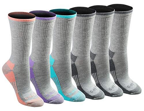 Dickies Damen Dri-Tech Advanced Moisture Wicking Crew Legere Socken, Grau-Mix, 6 Stück, Shoe Size: 6-9 (6er Pack)