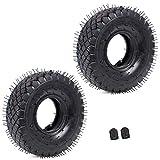 Set di 2 pneumatici 4.10/3.50-4 + tubo interno con valvola curva, ricambio per tosaerba a mano, camion, carriola, rimorchio, trattorino, spazzaneve, compressore Go, Kart Chipper multiuso