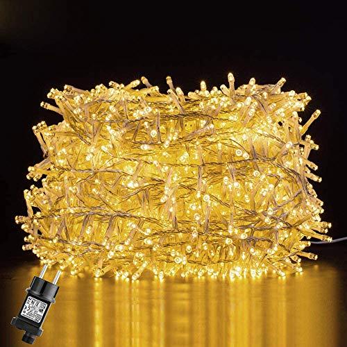 GlobaLink 25M 1000Leds LED Lichterkette Außen Weihnachtsbeleuchtung IP44 mit Stecker 8 Modi für innen und außen Hochzeit Party Garten Deko - Warmweiß