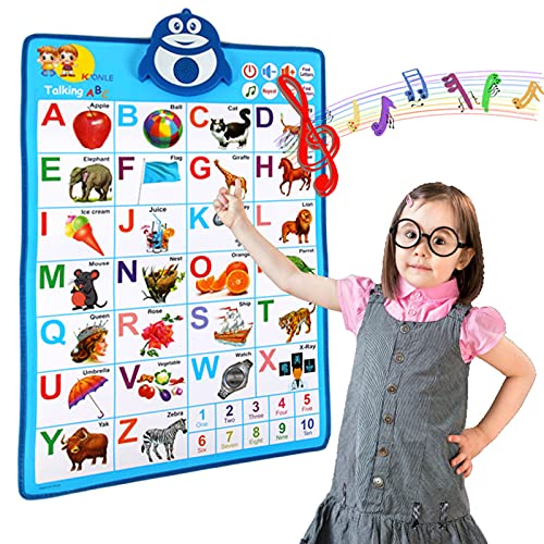 Electronic Interactive Alphabet Wall Chart, Talking ABC & 123s & Music Poster Educational Toys for Toddler,Best Gifts for Toddlers Learning