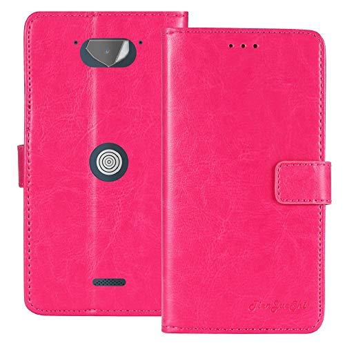 TienJueShi Rosa Premium Retro Business Flip Book Stand Brief Leder Tasche Schutz Hulle Handy Hülle Abdeckung Fall Wallet Cover Etui Skin Fur Crosscall Core x3 5 inch