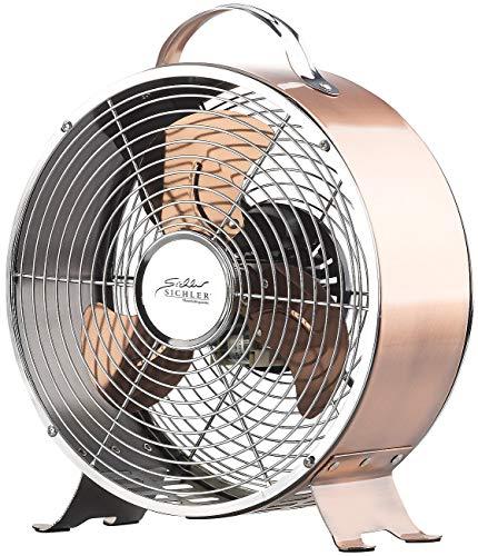 Sichler Haushaltsgeräte Nostalgie Ventilator: Tisch-Ventilator aus Vollmetall im Retro-Design, 20 Watt (Ventilator Metall)
