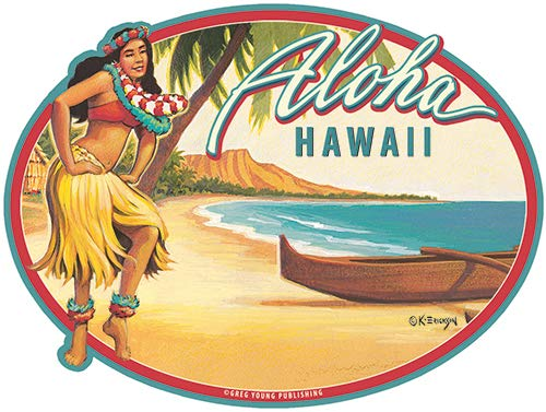 Car Window Bumper Sticker Hawaiian Art Decal Pacifica Island Art Diga Diga Doo