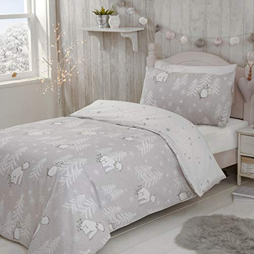 Sleepdown Kids Polar Bear Penguins Grey Festive Christmas White Easy Care Xmas Stars Reversible Duvet Cover Quilt Bedding Set with Pillowcase - Single (135cm x 200cm)