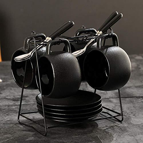 Espressotasse Geschenk 250 Ml Kreative Schwarze Grobe Keramik Kaffeemilchbecher Mit Löffelregal Kit Keramik Trinkgeschirr Büro Grüntee Tassen, C.