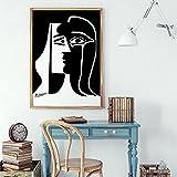 Cartel de Beso Pintor Famoso Pintura Arte de la Pared Mujer Abstracta Lienzo Pintura Imagen en Blanco y Negro en la Pared Retro decoración para el hogar