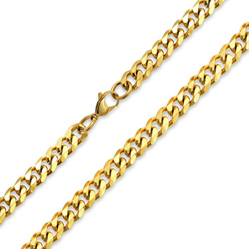 Bling Jewelry Heavy Solid Curb Cuban Link Chain 10 MM for Men Necklace Gold Plated Stainless Steel 30 inch